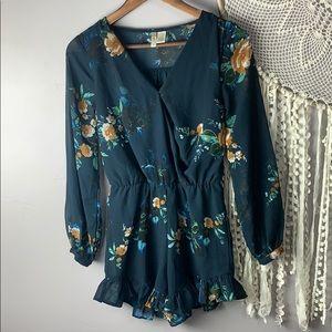 Japna Blue Floral Long Sleeve Romper